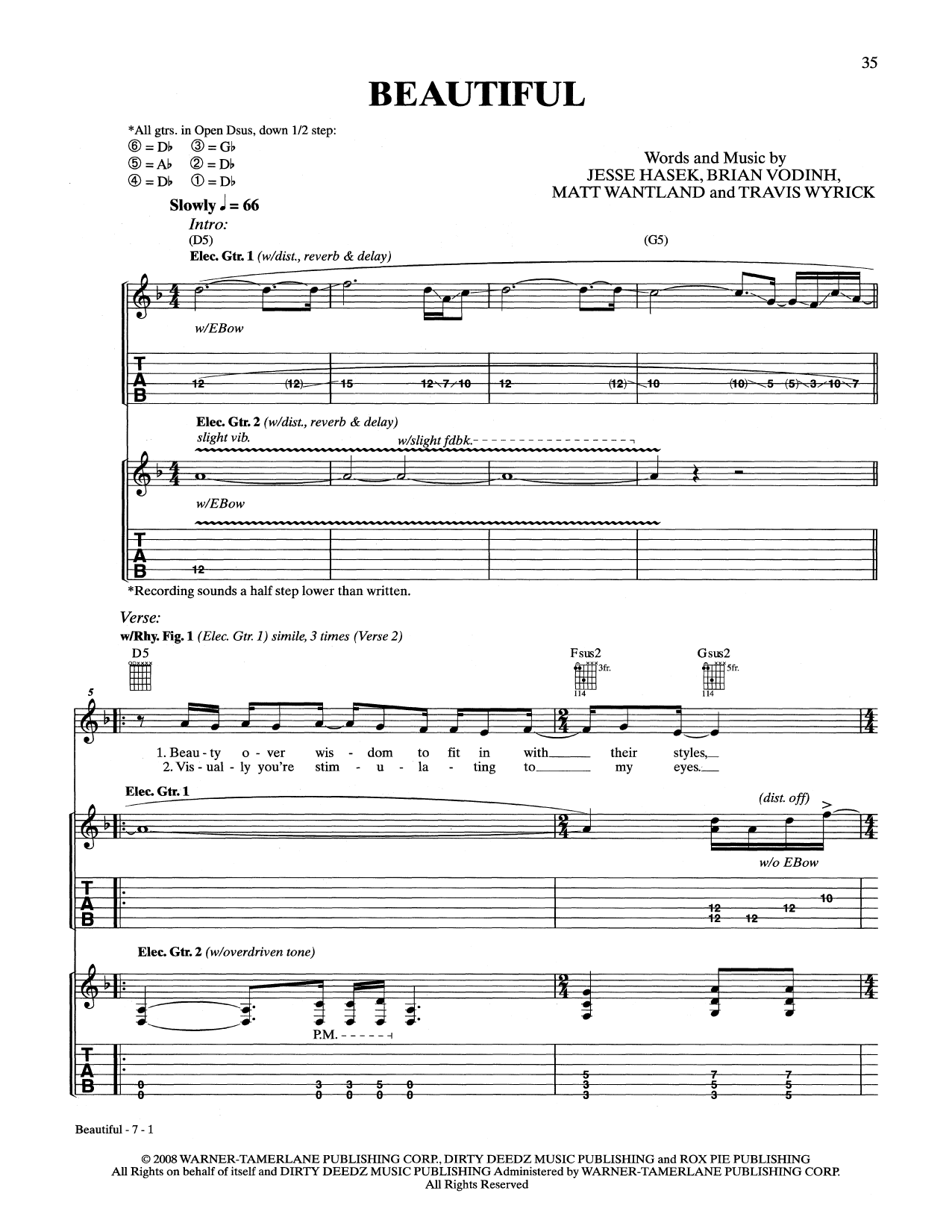 Download 10 Years 'Beautiful' Digital Sheet Music Notes & Chords and start playing in minutes
