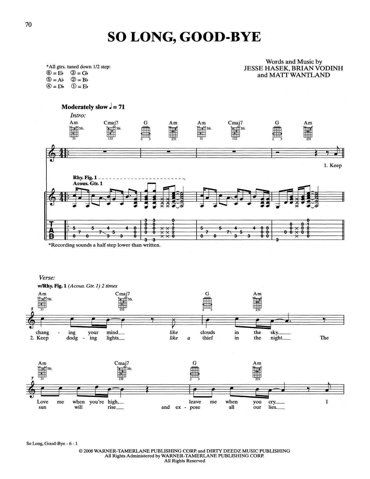 Download 10 Years 'So Long, Good-Bye' Digital Sheet Music Notes & Chords and start playing in minutes