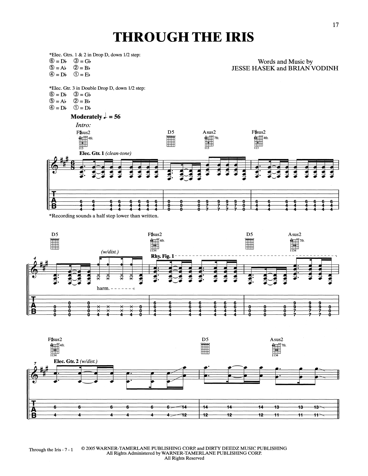 Download 10 Years 'Through The Iris' Digital Sheet Music Notes & Chords and start playing in minutes