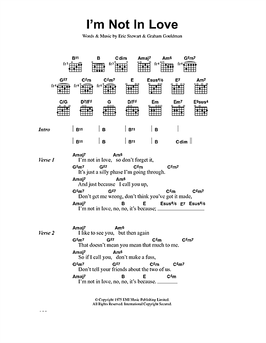 Download 10cc 'I'm Not In Love' Digital Sheet Music Notes & Chords and start playing in minutes