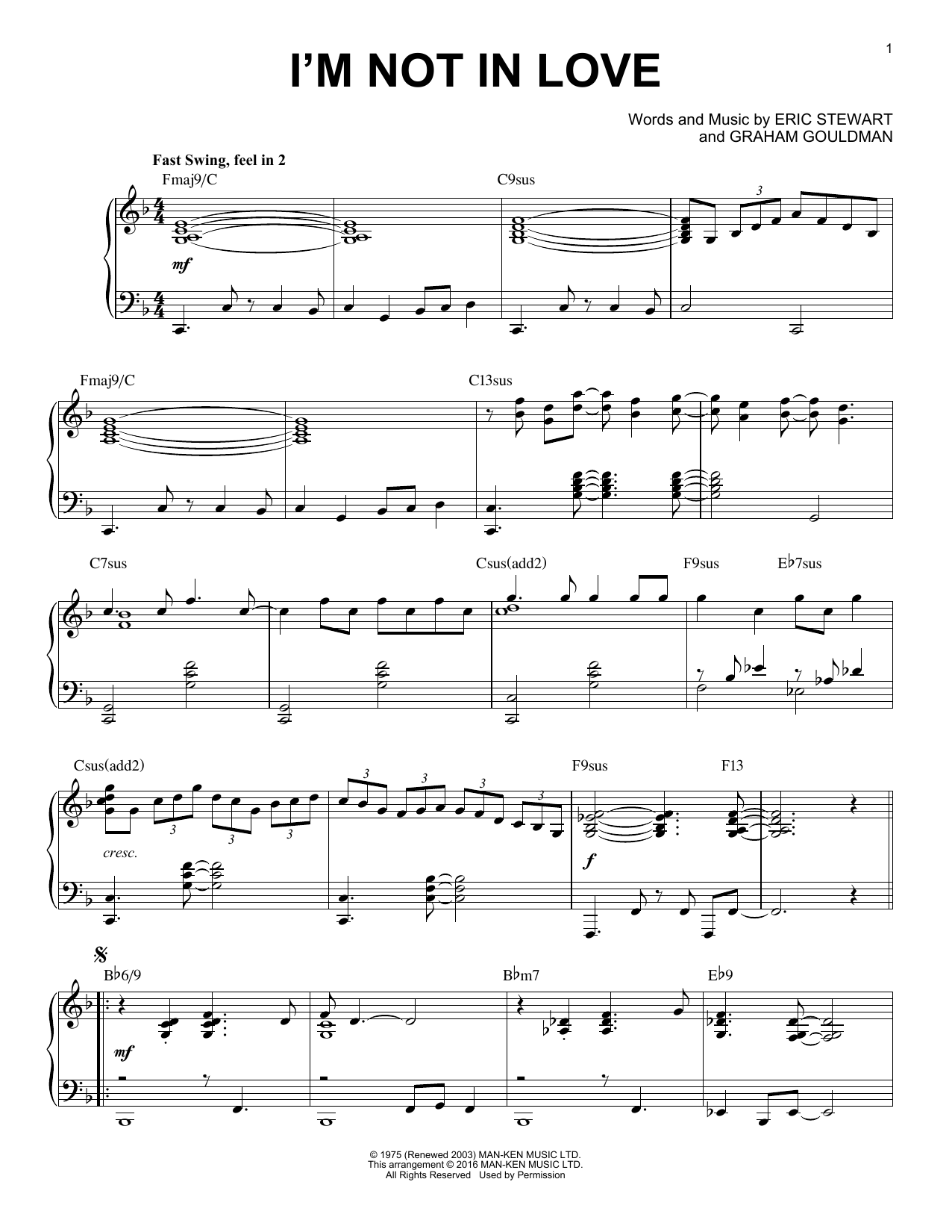 Download 10Cc 'I'm Not In Love [Jazz version] (arr. Brent Edstrom)' Digital Sheet Music Notes & Chords and start playing in minutes