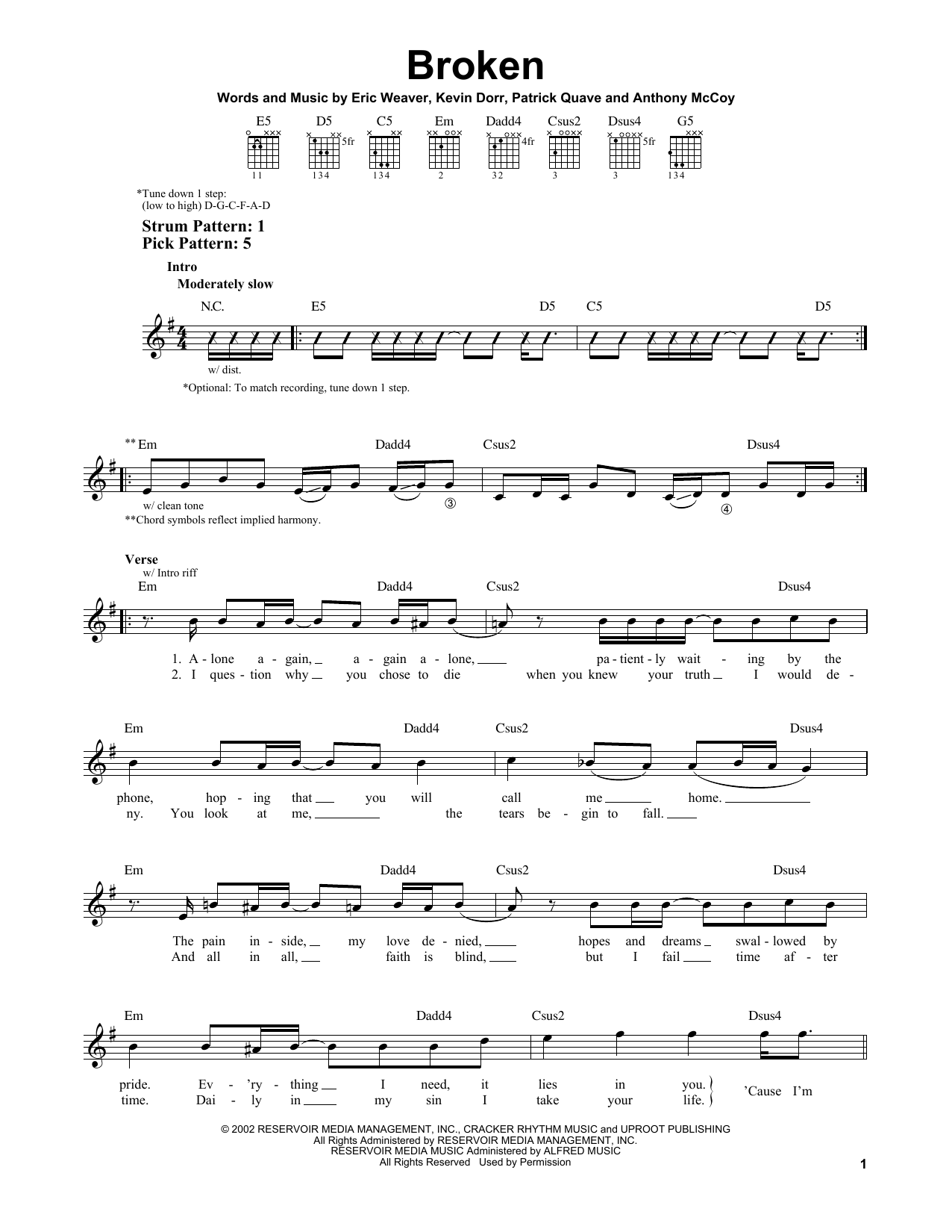 Download 12 Stones 'Broken' Digital Sheet Music Notes & Chords and start playing in minutes