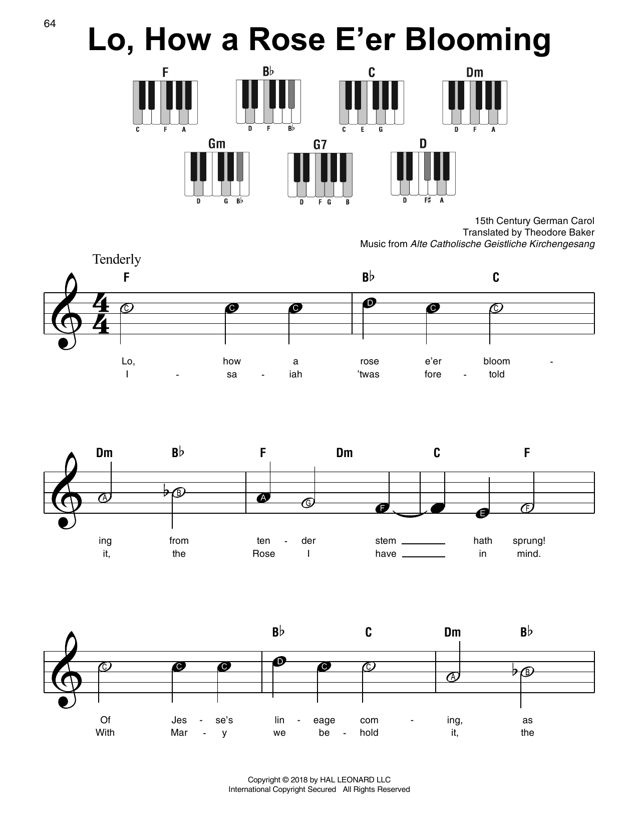 Download Traditional Carol 'Lo, How A Rose E'er Blooming' Digital Sheet Music Notes & Chords and start playing in minutes