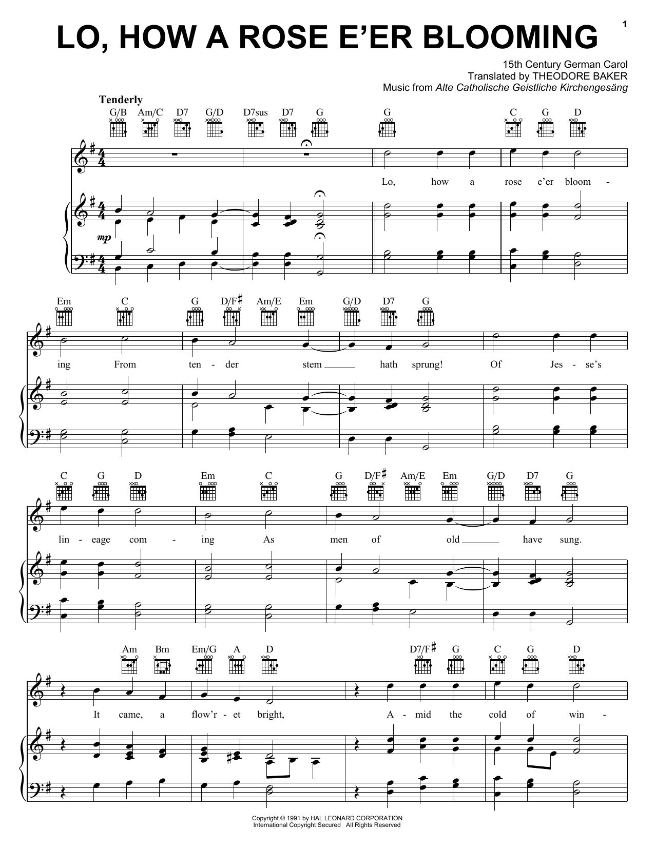 Traditional Carol Lo, How A Rose E'er Blooming sheet music preview music notes and score for Easy Piano including 2 page(s)