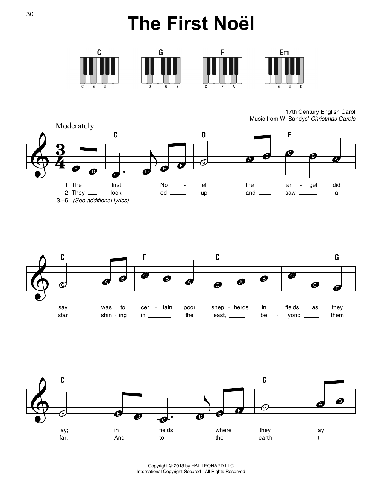 Download 17th Century English Carol 'The First Noel' Digital Sheet Music Notes & Chords and start playing in minutes