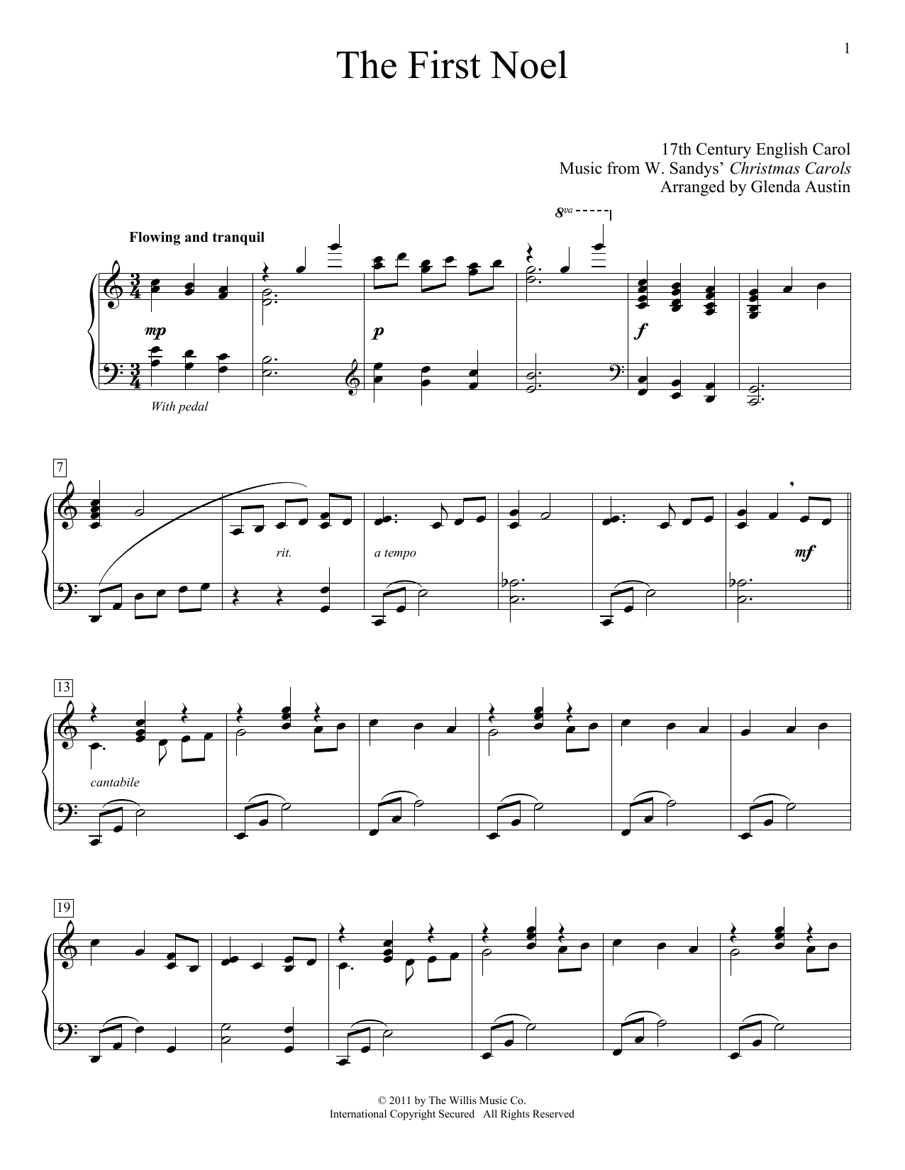 Download 17th Century English Carol 'The First Noel (arr. Glenda Austin)' Digital Sheet Music Notes & Chords and start playing in minutes