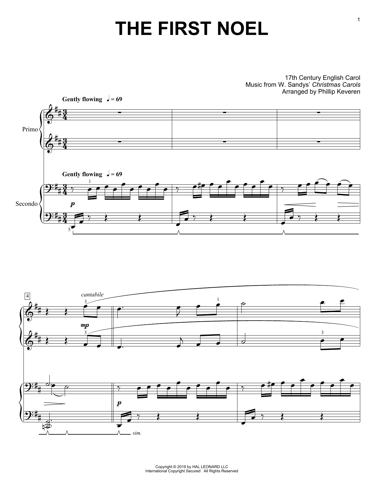 Download 17th Century English Carol 'The First Noel (arr. Phillip Keveren)' Digital Sheet Music Notes & Chords and start playing in minutes