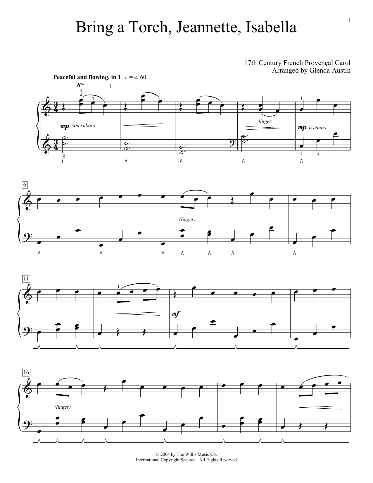 Download 17th Century French Carol 'Bring A Torch, Jeannette, Isabella (arr. Glenda Austin)' Digital Sheet Music Notes & Chords and start playing in minutes