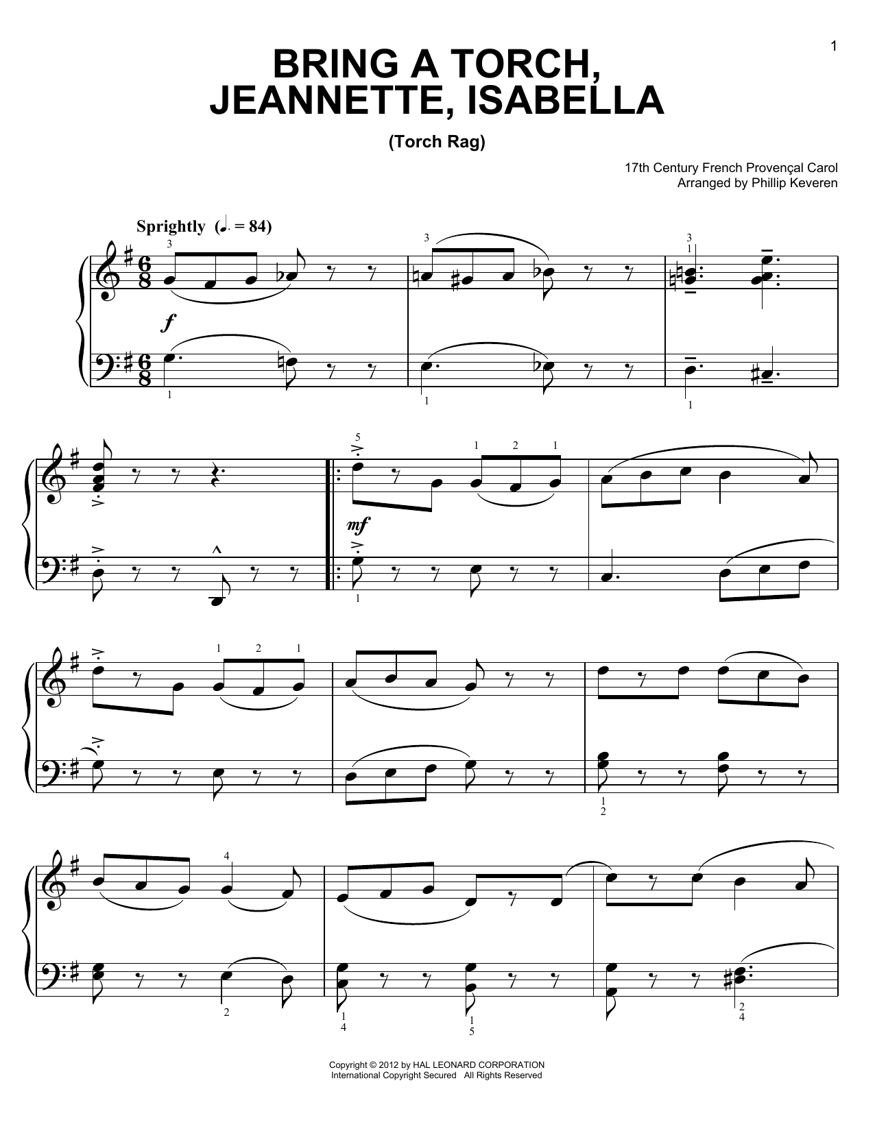 Download Phillip Keveren 'Bring A Torch, Jeannette, Isabella' Digital Sheet Music Notes & Chords and start playing in minutes