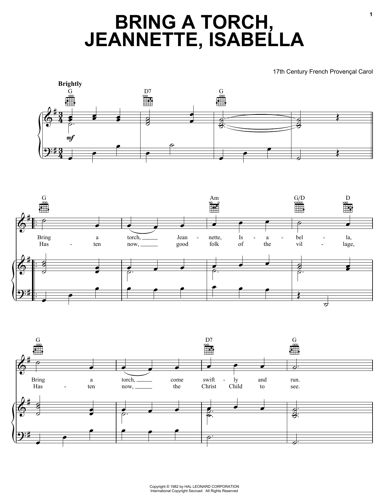 Traditional Carol Bring A Torch, Jeannette, Isabella sheet music preview music notes and score for Easy Piano including 2 page(s)