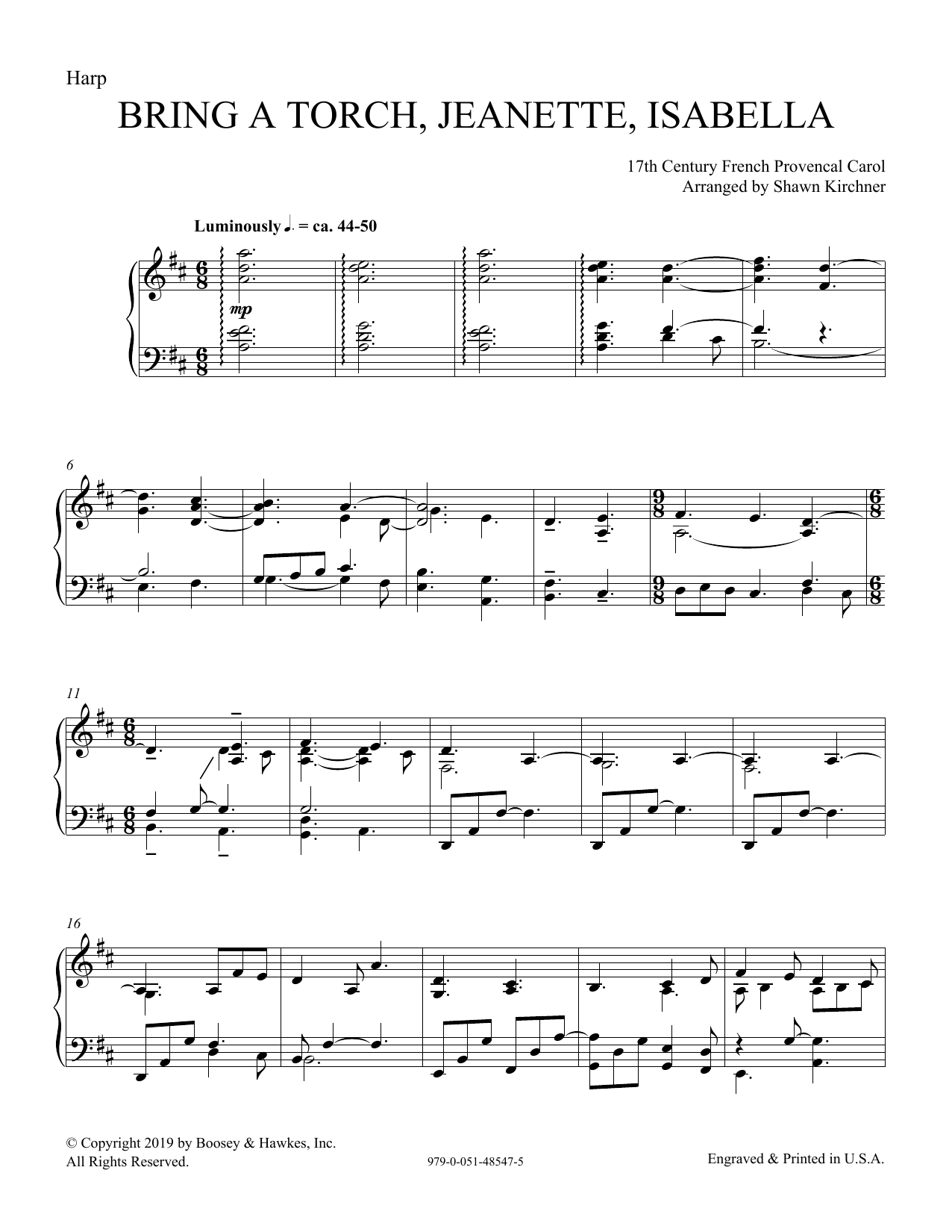 Download 17th Century French Provencal 'Bring a Torch, Jeanette, Isabella (arr. Shawn Kirchner) - Harp' Digital Sheet Music Notes & Chords and start playing in minutes