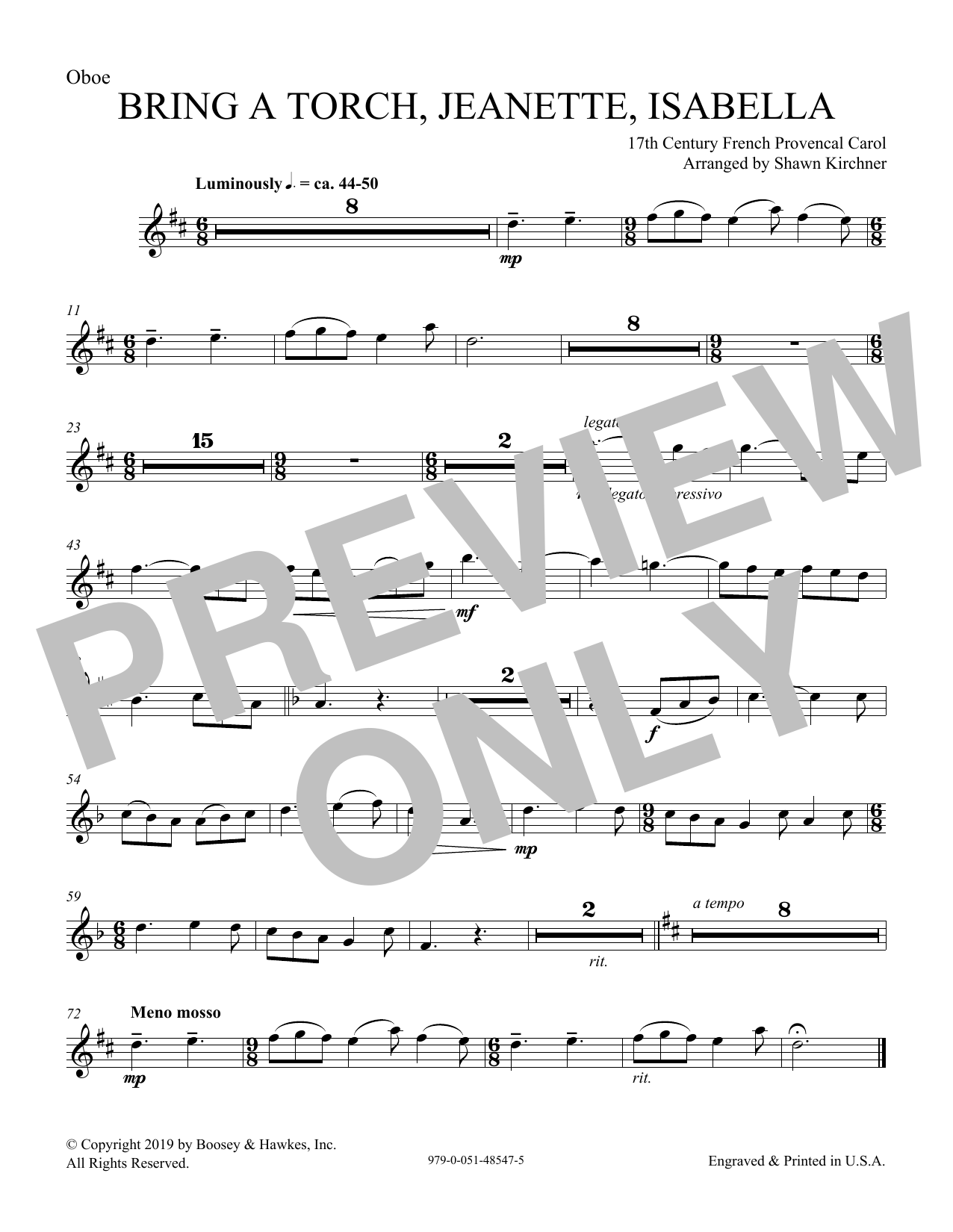 Download 17th Century French Provencal 'Bring a Torch, Jeanette, Isabella (arr. Shawn Kirchner) - Oboe' Digital Sheet Music Notes & Chords and start playing in minutes