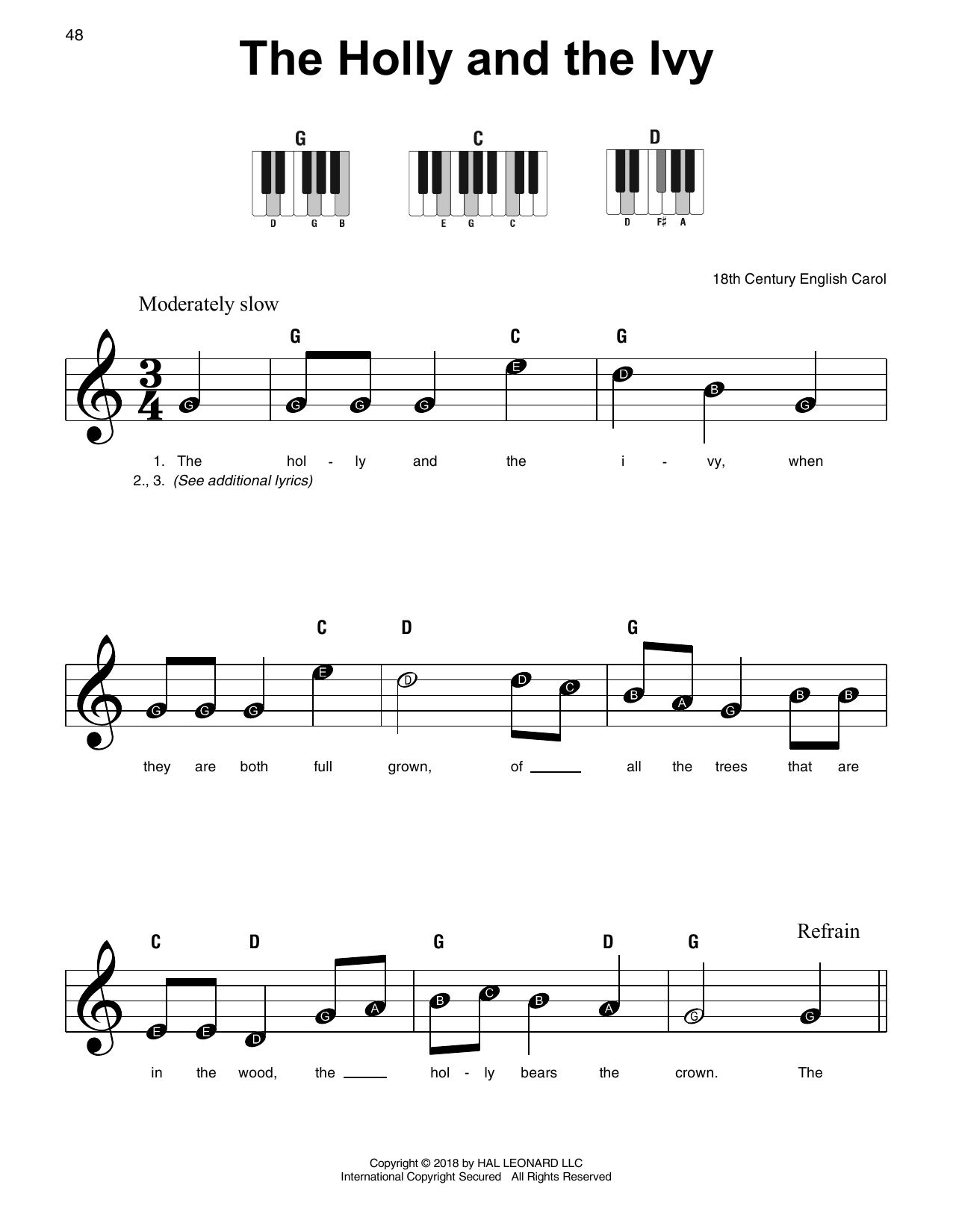 Download 18th Century English Carol 'The Holly And The Ivy' Digital Sheet Music Notes & Chords and start playing in minutes