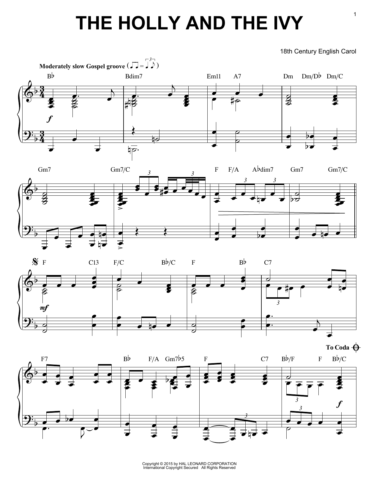 Download Christmas Carol 'The Holly And The Ivy' Digital Sheet Music Notes & Chords and start playing in minutes