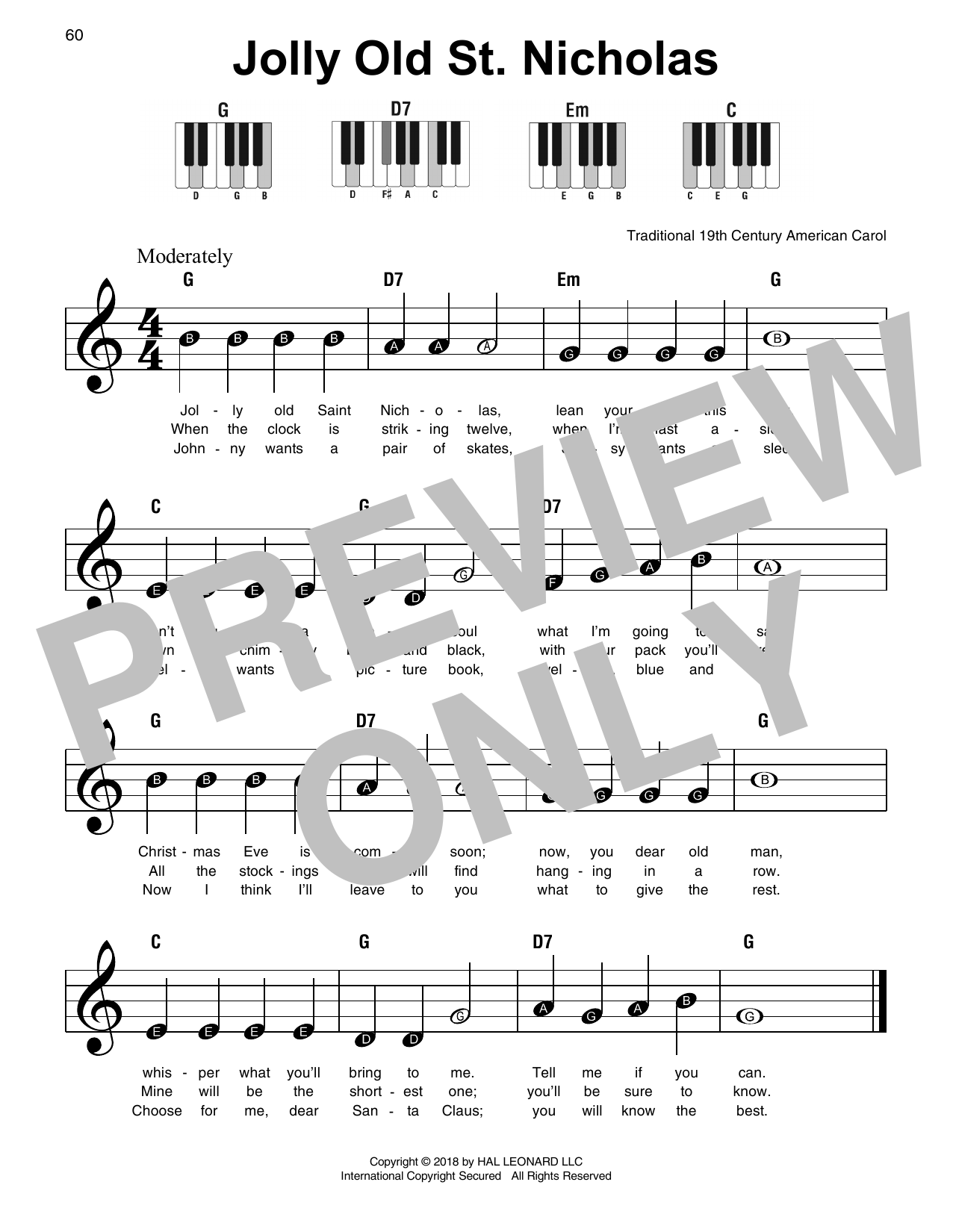 Download 19th Century American Carol 'Jolly Old St. Nicholas' Digital Sheet Music Notes & Chords and start playing in minutes