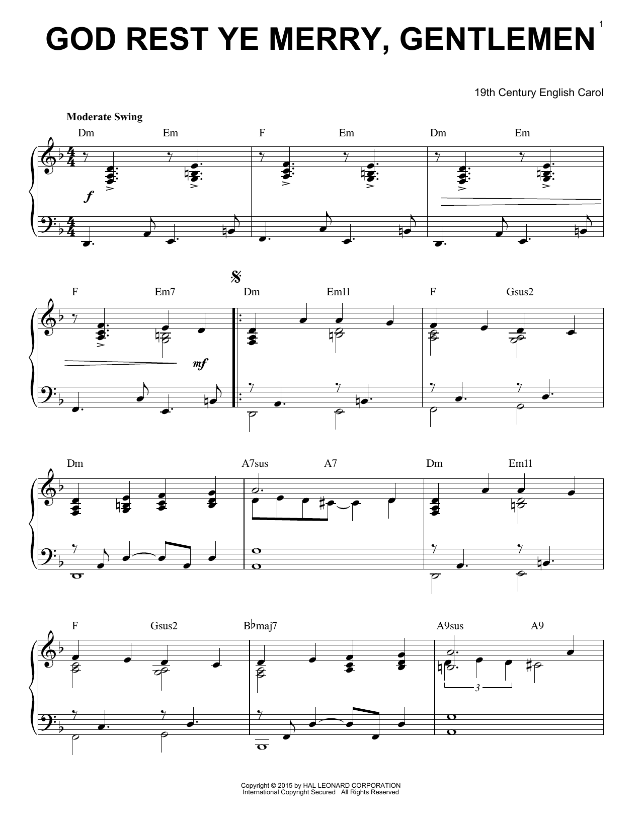 Download Christmas Carol 'God Rest Ye Merry, Gentlemen' Digital Sheet Music Notes & Chords and start playing in minutes