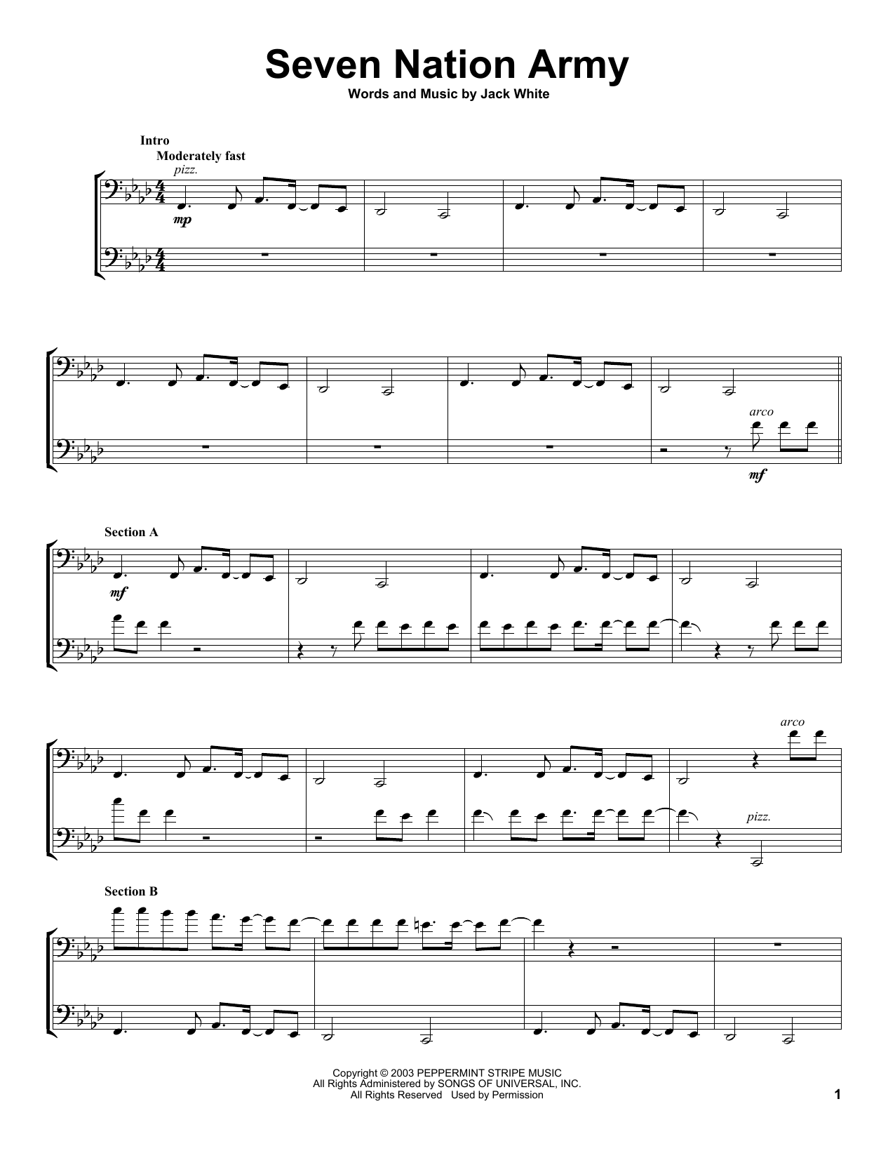 Download 2Cellos 'Seven Nation Army' Digital Sheet Music Notes & Chords and start playing in minutes