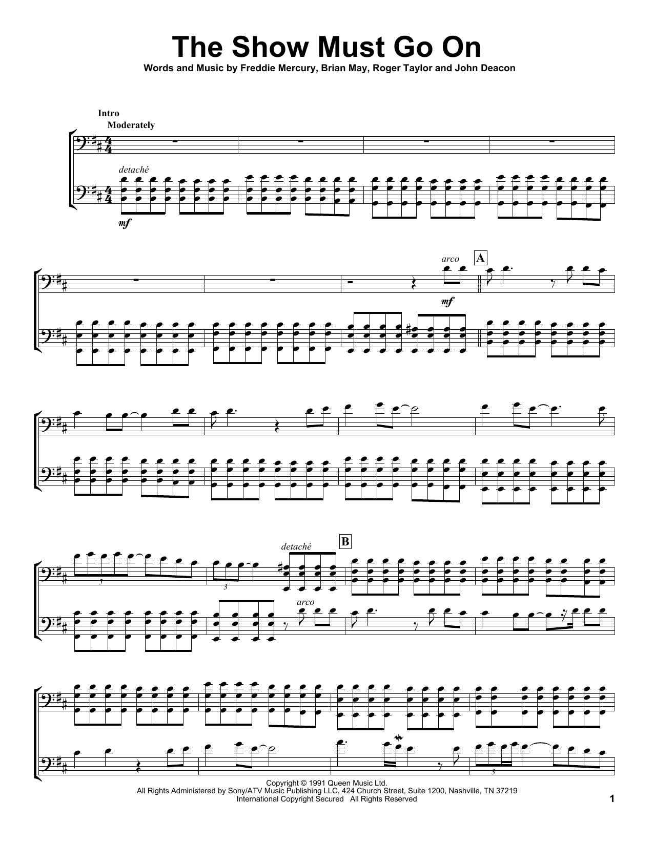 2Cellos The Show Must Go On sheet music preview music notes and score for Cello Duet including 5 page(s)