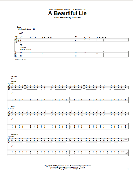 Download 30 Seconds To Mars 'A Beautiful Lie' Digital Sheet Music Notes & Chords and start playing in minutes