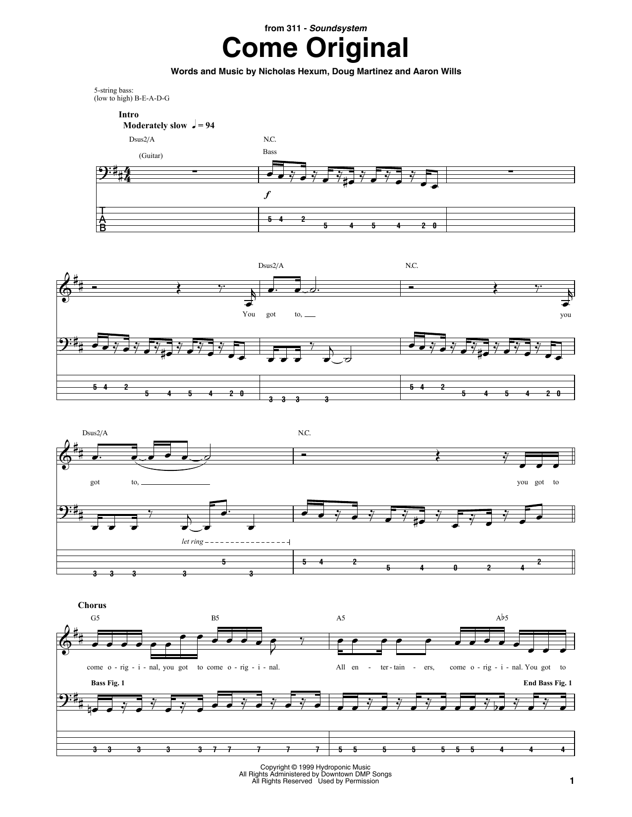 Download 311 'Come Original' Digital Sheet Music Notes & Chords and start playing in minutes