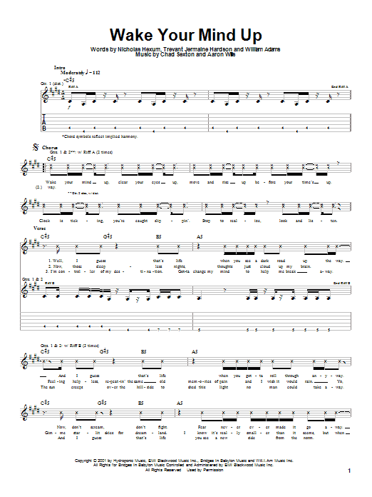 311 Wake Your Mind Up sheet music preview music notes and score for Guitar Tab including 5 page(s)