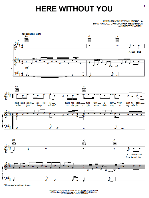 Download 3 Doors Down 'Here Without You' Digital Sheet Music Notes & Chords and start playing in minutes