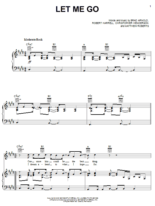 Download 3 Doors Down 'Let Me Go' Digital Sheet Music Notes & Chords and start playing in minutes