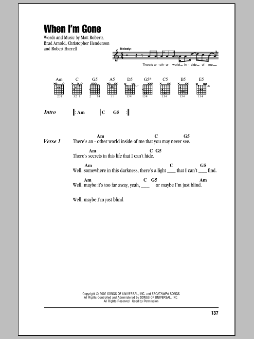 Download 3 Doors Down 'When I'm Gone' Digital Sheet Music Notes & Chords and start playing in minutes