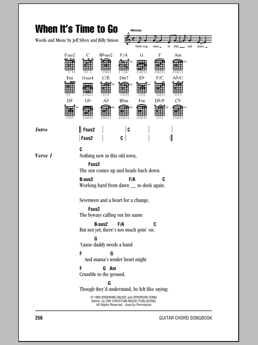 Download 4 Him 'When It's Time To Go' Digital Sheet Music Notes & Chords and start playing in minutes