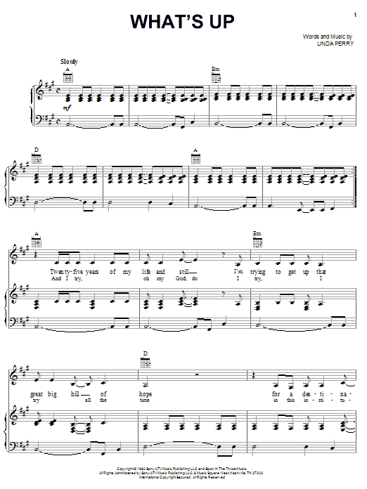 Download 4 Non Blondes 'What's Up' Digital Sheet Music Notes & Chords and start playing in minutes