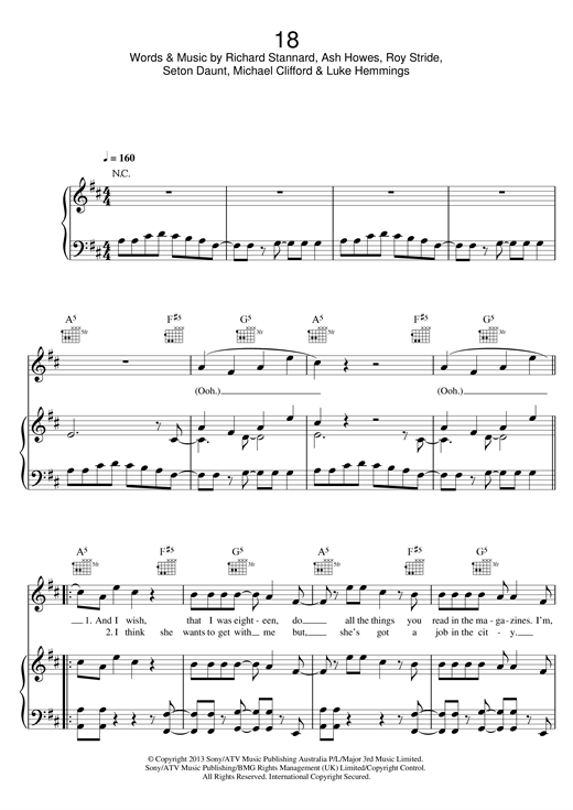 Download 5 Seconds of Summer '18' Digital Sheet Music Notes & Chords and start playing in minutes