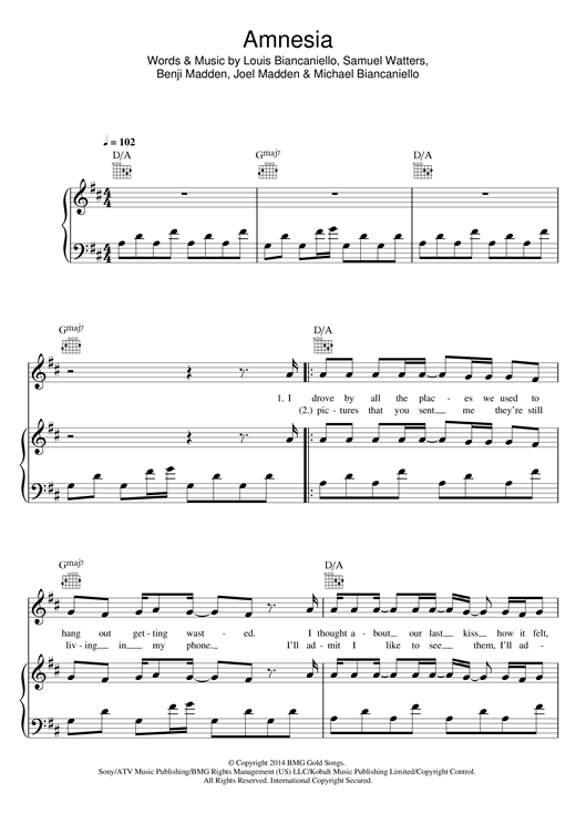 Download 5 Seconds of Summer 'Amnesia' Digital Sheet Music Notes & Chords and start playing in minutes