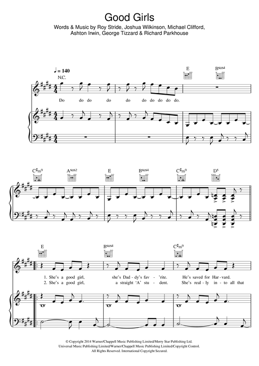 Download 5 Seconds of Summer 'Good Girls' Digital Sheet Music Notes & Chords and start playing in minutes