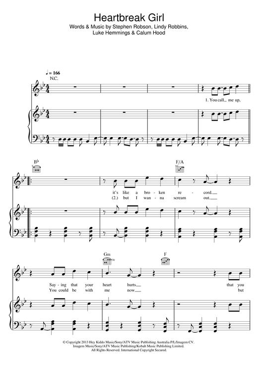 Download 5 Seconds of Summer 'Heartbreak Girl' Digital Sheet Music Notes & Chords and start playing in minutes