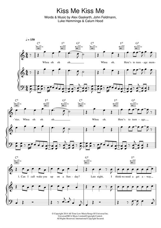 Download 5 Seconds of Summer 'Kiss Me Kiss Me' Digital Sheet Music Notes & Chords and start playing in minutes