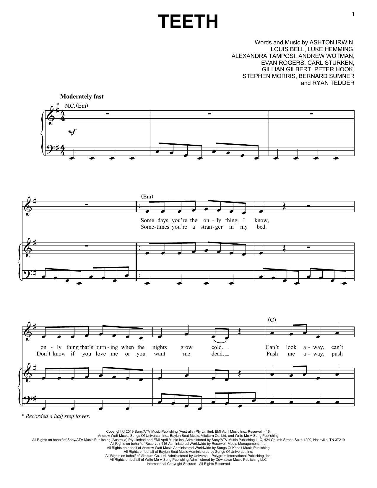 Download 5 Seconds of Summer 'Teeth' Digital Sheet Music Notes & Chords and start playing in minutes