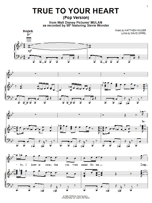 98 Degrees True To Your Heart (Pop Version) (feat. Stevie Wonder) sheet music notes and chords