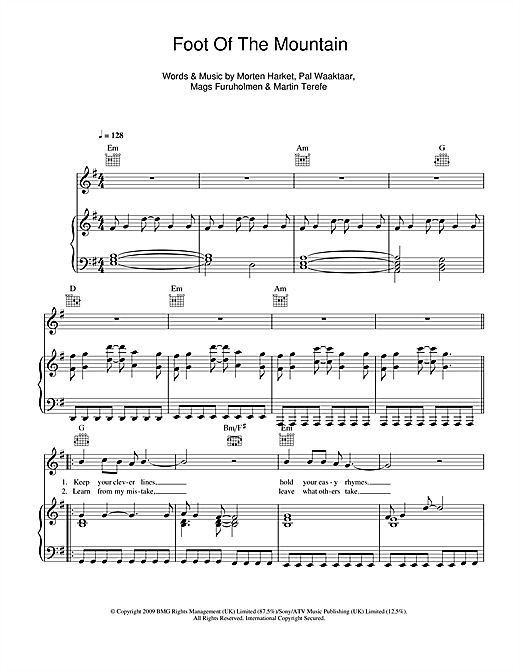 Download A-ha 'Foot Of The Mountain' Digital Sheet Music Notes & Chords and start playing in minutes