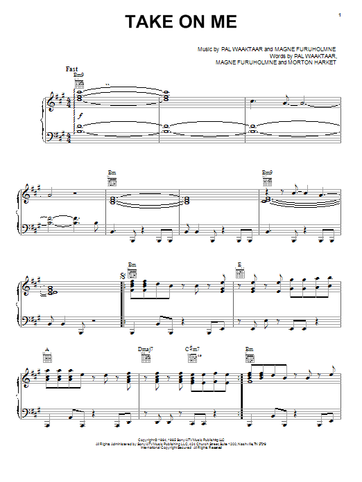 A-ha Take On Me sheet music notes and chords
