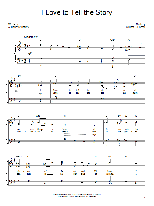 Download A. Katherine Hankey 'I Love To Tell The Story' Digital Sheet Music Notes & Chords and start playing in minutes