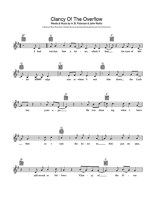 A.B. 'Banjo' Paterson Clancy Of The Overflow sheet music preview music notes and score for Melody Line, Lyrics & Chords including 2 page(s)
