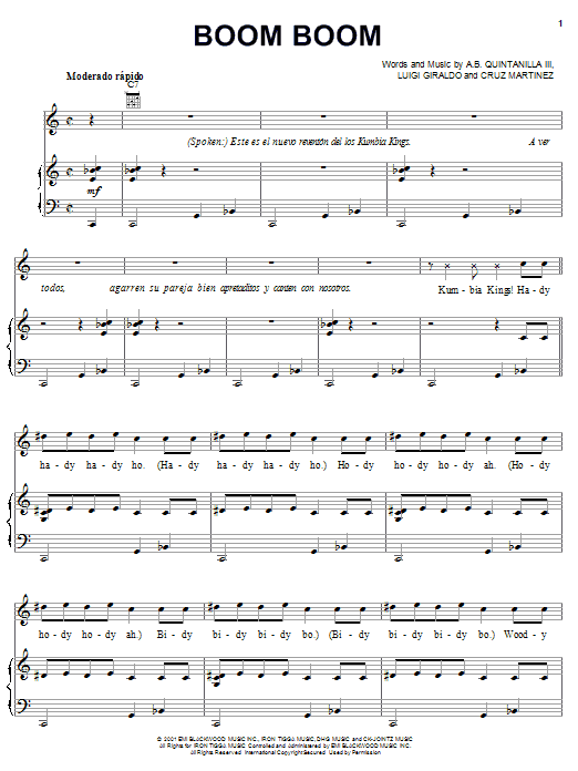 A.B. Quintanilla III Boom Boom sheet music notes and chords