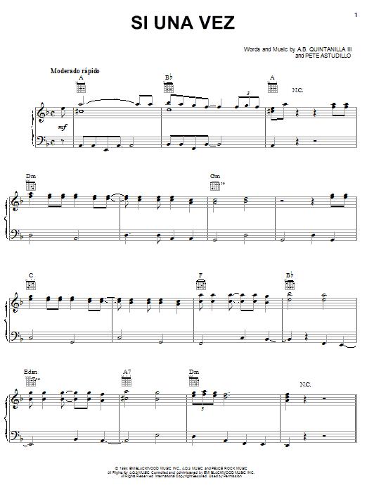 A.B. Quintanilla III Si Una Vez sheet music notes and chords