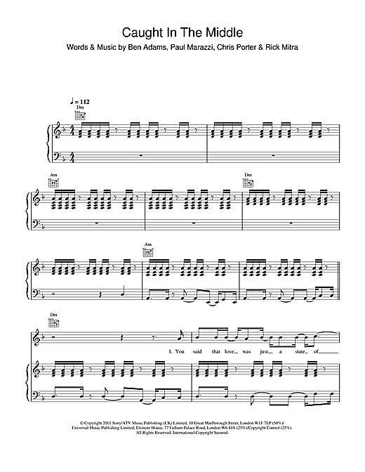 Download A1 'Caught In The Middle' Digital Sheet Music Notes & Chords and start playing in minutes
