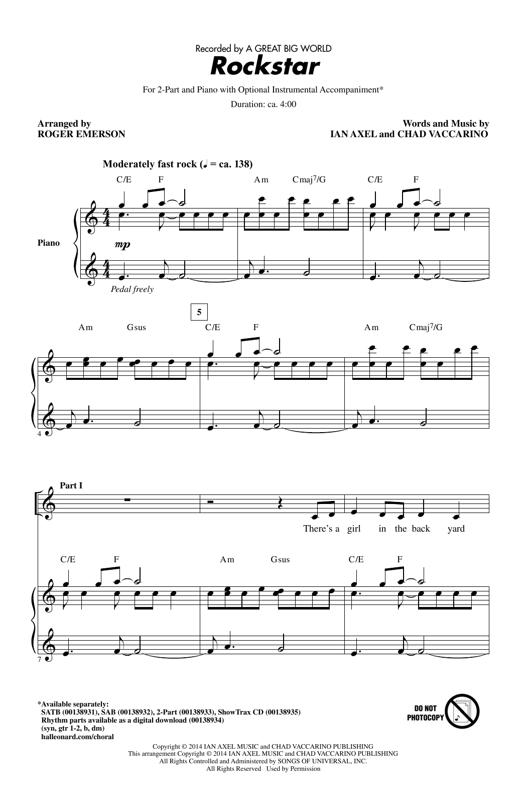Download A Great Big World 'Rockstar (arr. Roger Emerson)' Digital Sheet Music Notes & Chords and start playing in minutes
