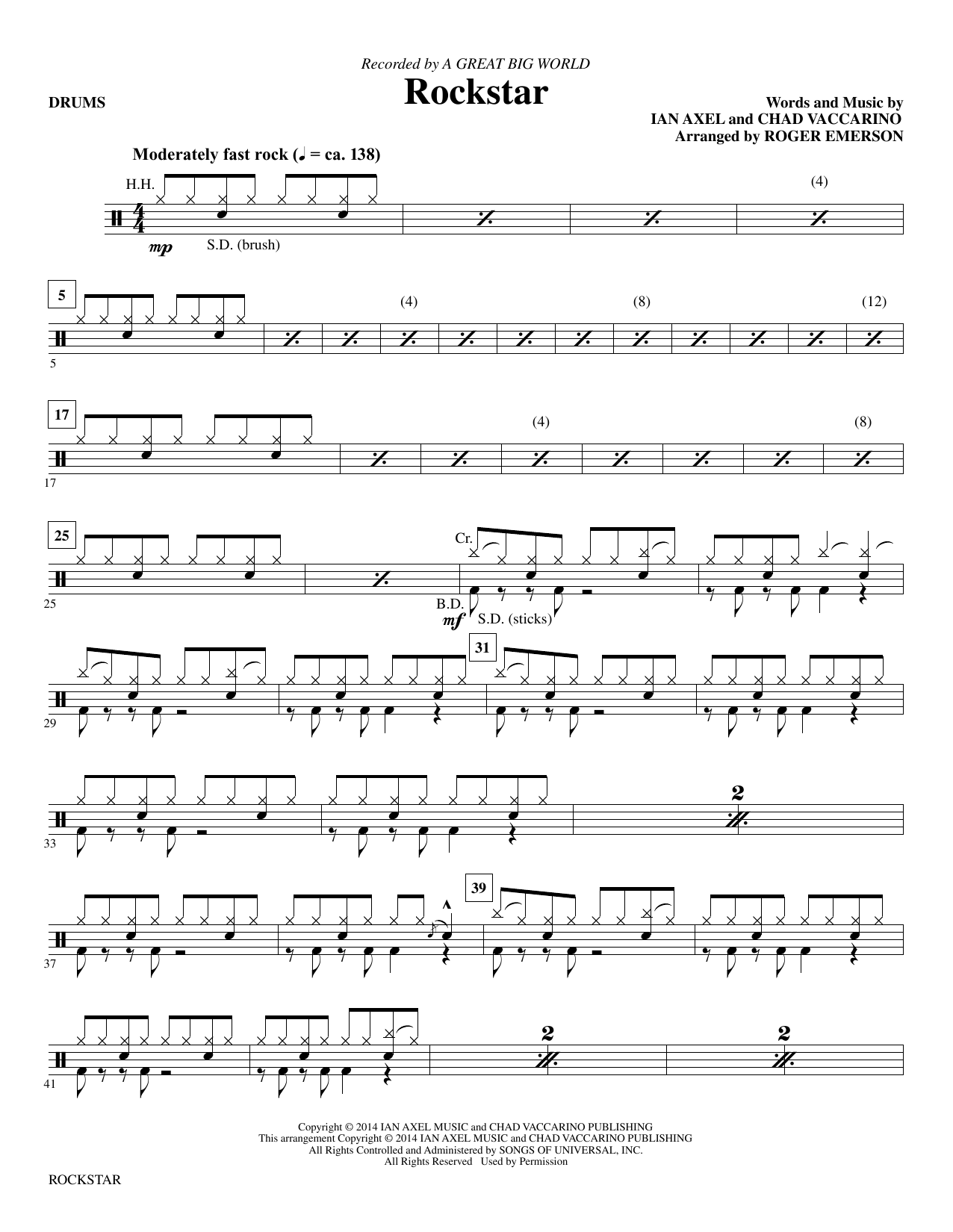 Download A Great Big World 'Rockstar (arr. Roger Emerson) - Drums' Digital Sheet Music Notes & Chords and start playing in minutes