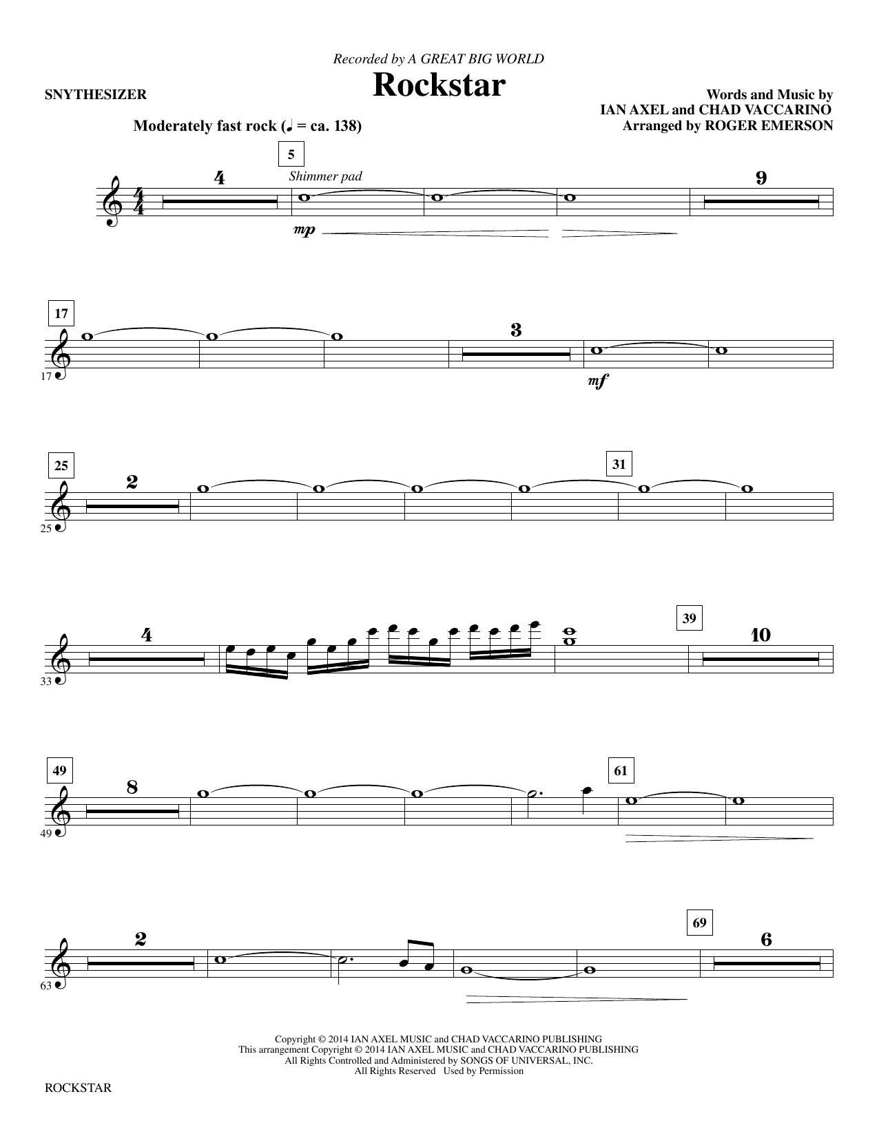 Download A Great Big World 'Rockstar (arr. Roger Emerson) - Synthesizer' Digital Sheet Music Notes & Chords and start playing in minutes