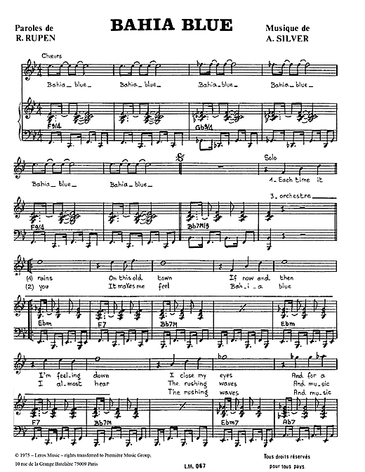 Download A Koulouris 'Bahia Blue' Digital Sheet Music Notes & Chords and start playing in minutes