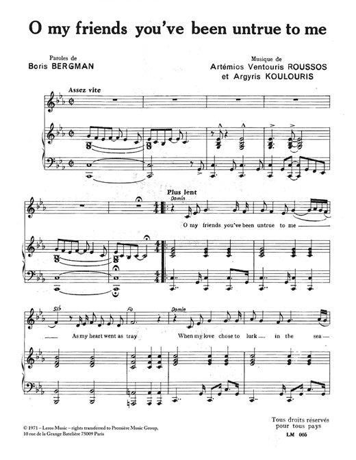 Download A Koulouris 'O My Friends You've Been Untrue To Me' Digital Sheet Music Notes & Chords and start playing in minutes