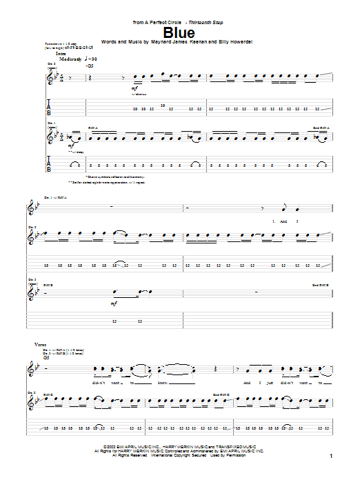 A Perfect Circle Blue sheet music notes and chords